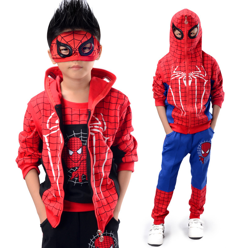 2020 new boys spring and autumn suit childrens spider man childrens Ultraman clothes cotton sports three piece set