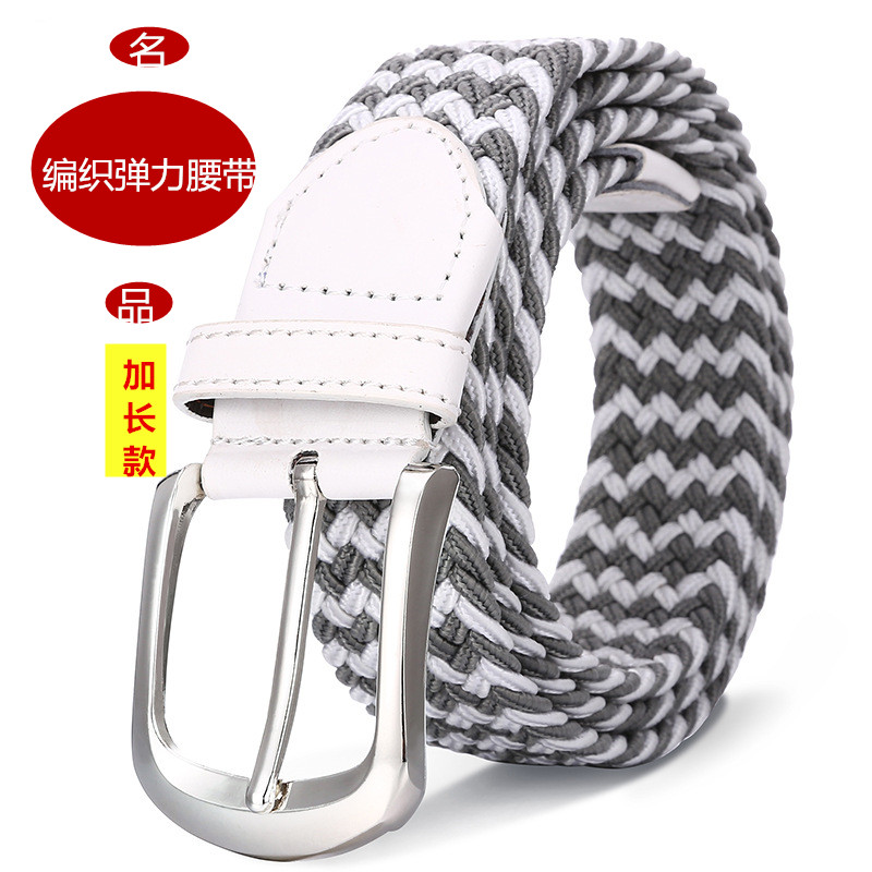 Small fat elastic perforated canvas belt, fattening, lengthening woven elastic belt for men and women