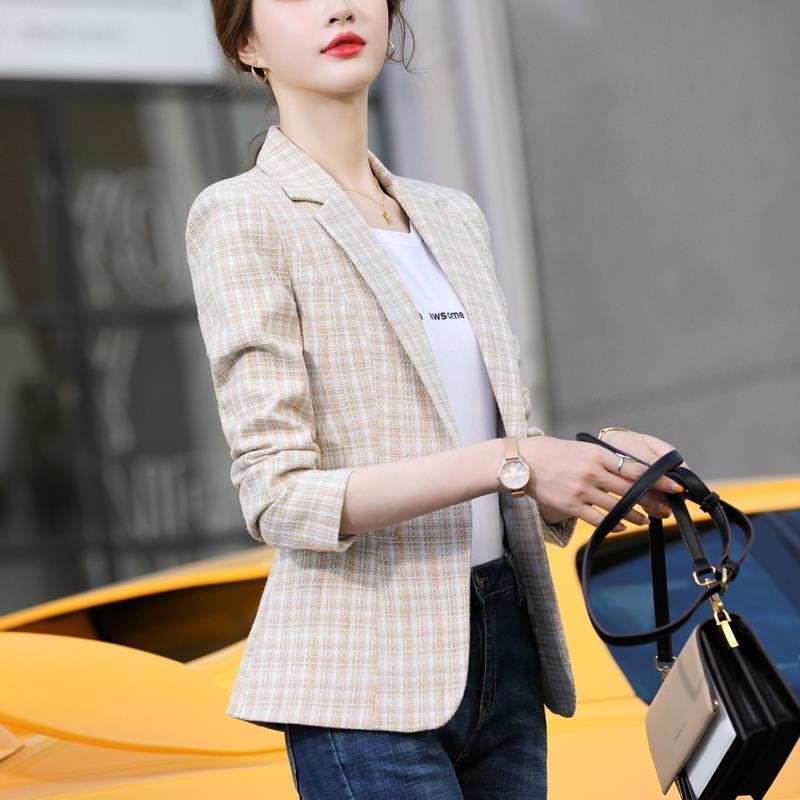 网红小西装外套女小香风2021春秋新款韩版英伦休闲格子短款西服潮