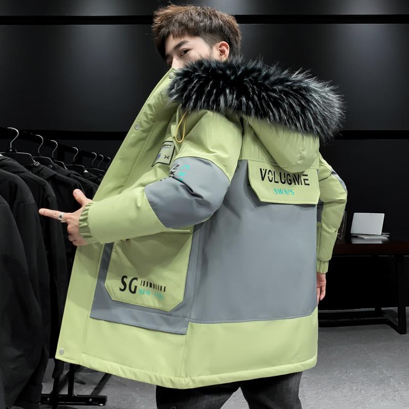 抖音大爆苹果绿冬季外套男短款大毛领加厚棉衣MY08-P115-QT5018,男装棉衣,5018