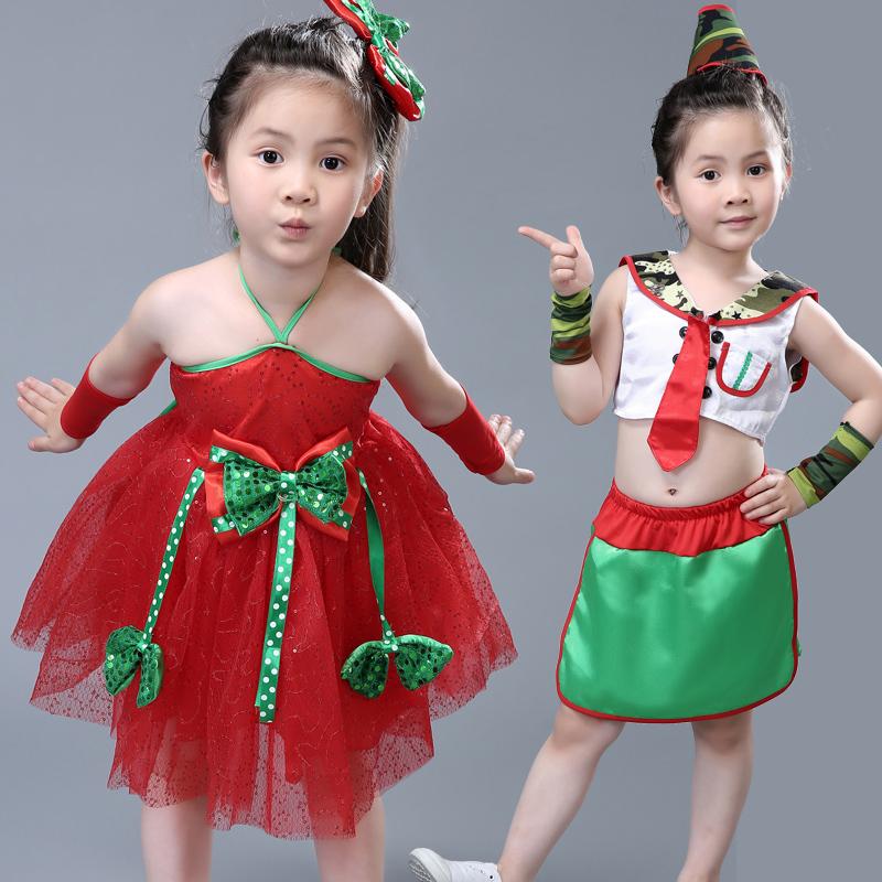 六一兒童演出服蓬蓬裙幼兒園舞蹈服亮片紗裙少兒 舞表演服裝女