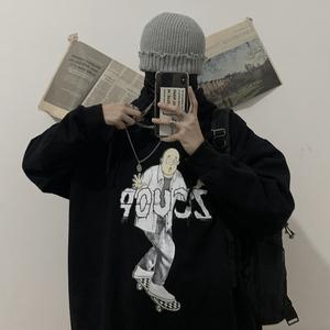 實拍實價控價49 原創 秋冬韓國復古卡通少年印花加絨連帽衛衣男女