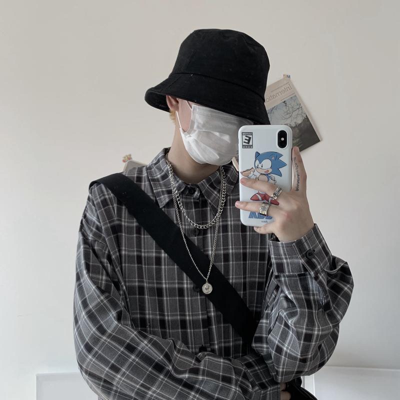 现货实价控价39 春季新款韩国复古原宿宽松长袖格子衬衫男女潮