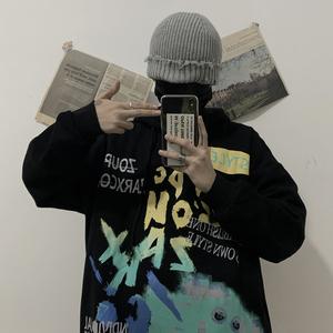 實拍實價控價50 原創 韓國復古原宿涂鴉印花加絨連帽衛衣男女潮