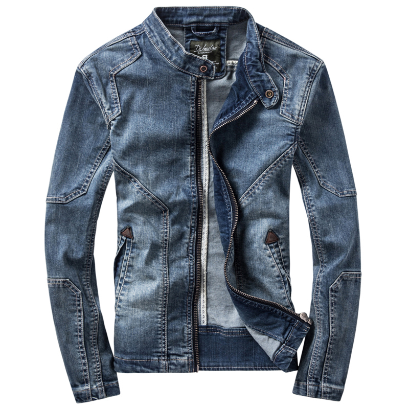 Spring and autumn 2020 new jacket retro denim jacket mens slim fitting tooling stand collar denim motorcycle suit