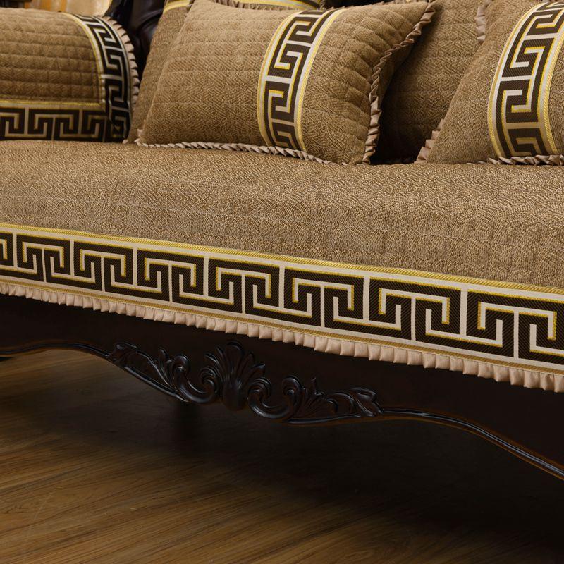 四季通用高档奢华雪尼尔沙发垫垫子布艺皮套巾罩防滑中式实木红木(非品牌)