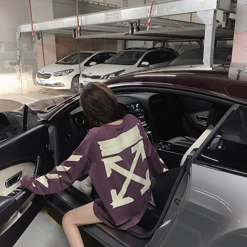 早安樊樊 紫色卫衣女潮ins宽松韩版衣服春秋薄款中长款T恤上衣图片