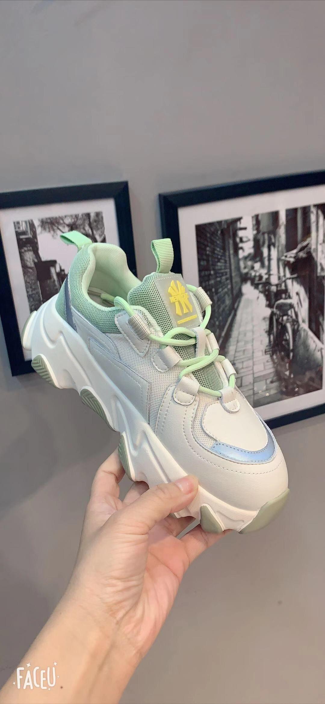 2020年春款定制款头层牛皮老爹鞋拼色绿色青春活力女鞋