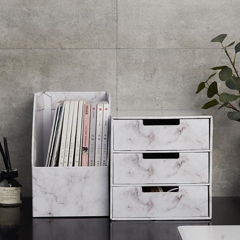 纸质大理石纹办公室桌面收纳盒文件书架收纳资料档案整理盒北欧风(非品牌)