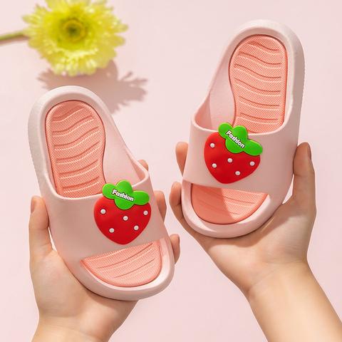 女童家居草莓凉拖鞋宝宝公主拖鞋中大儿童室内外穿小孩软底防滑夏