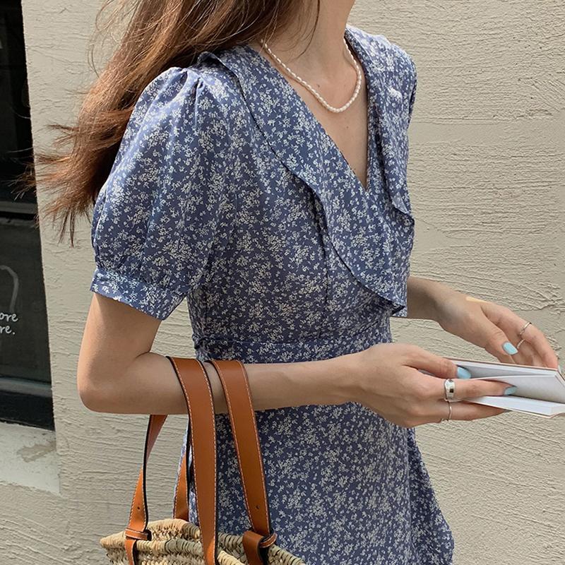 Low light recording V Neck waist Ruffle short sleeve floral dress strap shows thin temperament Chiffon medium and long skirt Zixia