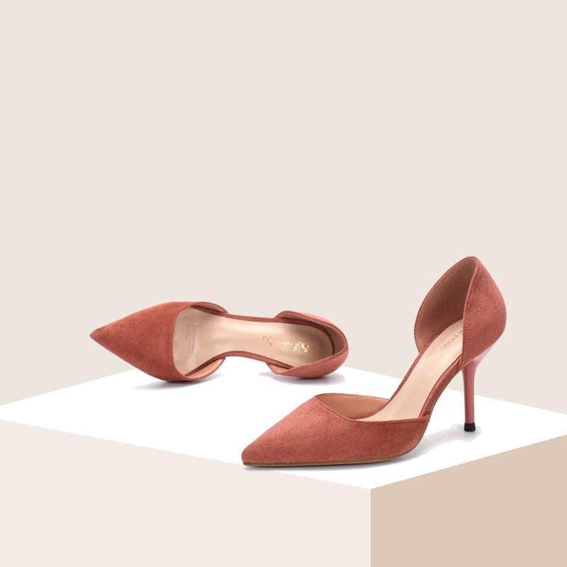 单鞋女2020春夏新品中空磨砂绒面性感套脚5cm尖头中跟细跟高跟鞋