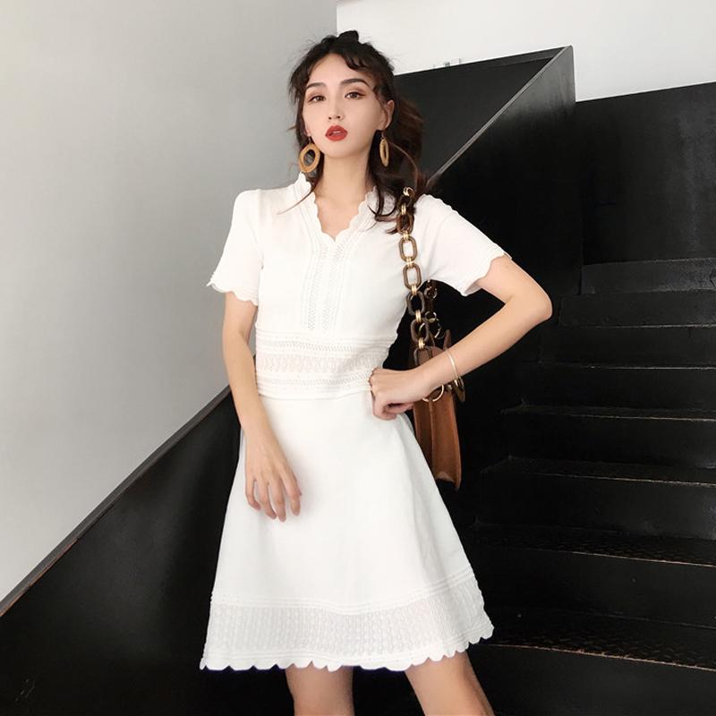 社会女裙子连衣全裙冷色系女装连衣裙夏2018新款精神女时尚御姐范