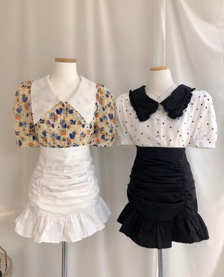 少女時代の韓国東大門の新型のハスの葉の辺のしわの短いスカート