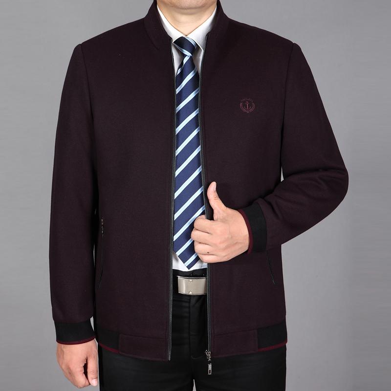 新款中老年羊毛夹克男爸爸装春秋外套 中年男士羊毛呢夹克立领