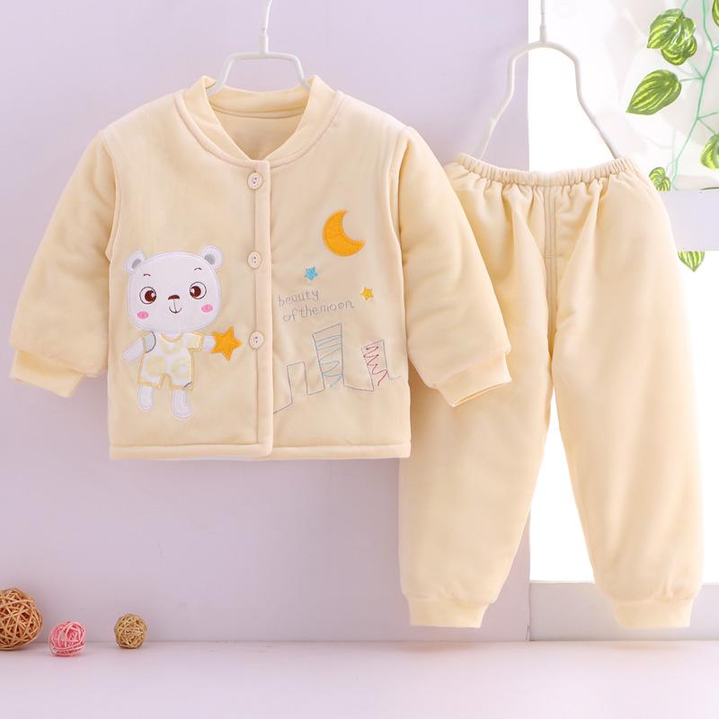 新生儿衣服棉衣两件套加厚秋冬季宝宝棉服棉袄外套婴儿棉衣套装
