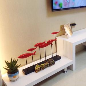 現代簡約客廳玄關電視柜擺件創意招財樹脂工藝品群魚家居飾品擺件