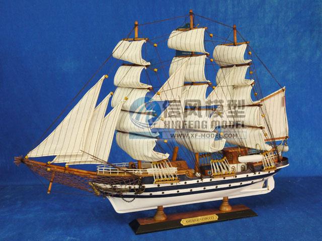 """【信风模型】木质帆船模型家居摆设--""""韦斯普奇号""""办公装饰礼品"""