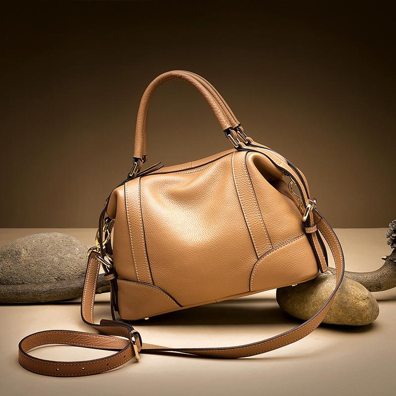原创新款真皮女包 时尚头层牛皮手提斜挎包休闲软皮贝壳包潮流7p1