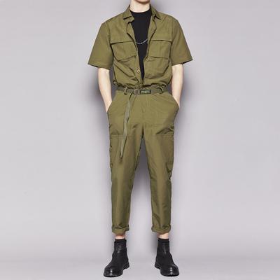 特别推荐 隐制春夏新品绿色工装英伦时尚轻工风翻领连身裤连体裤