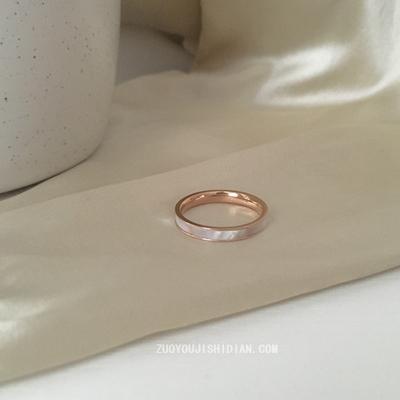 钛钢不掉色INS复古小众轻奢珍珠白贝母戒指女chic百搭时尚潮女戒