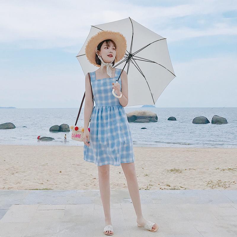 连衣裙女夏装2018新款小清新显瘦高腰中长款蓝色格子裙pphome裙子