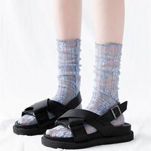 袜子女中筒袜透明蕾丝春夏堆堆袜薄款网纱玻璃袜日系ins潮凉鞋袜