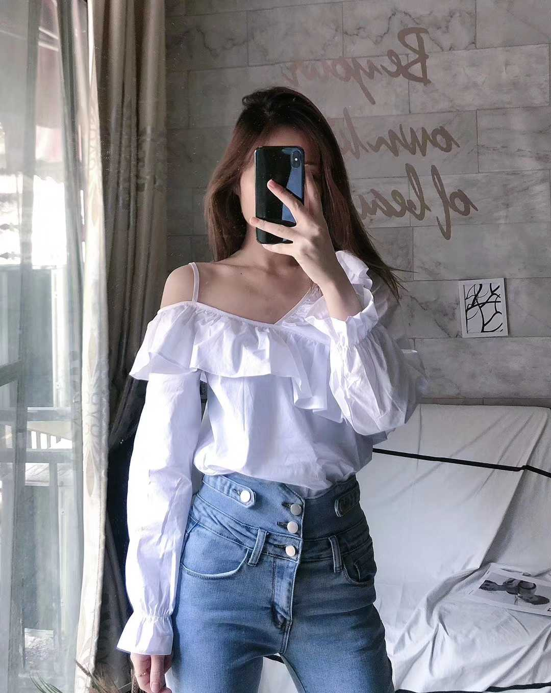 Shirt woman super fairy off shoulder sexy top Hong Kong Style versatile Ruffle V-neck feminine design shirt