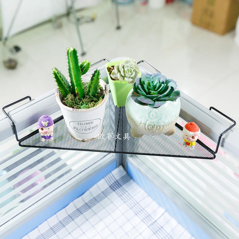 铁艺办公桌花盆架办公室三角置物架桌面搁板阳台转角整理办公挂架