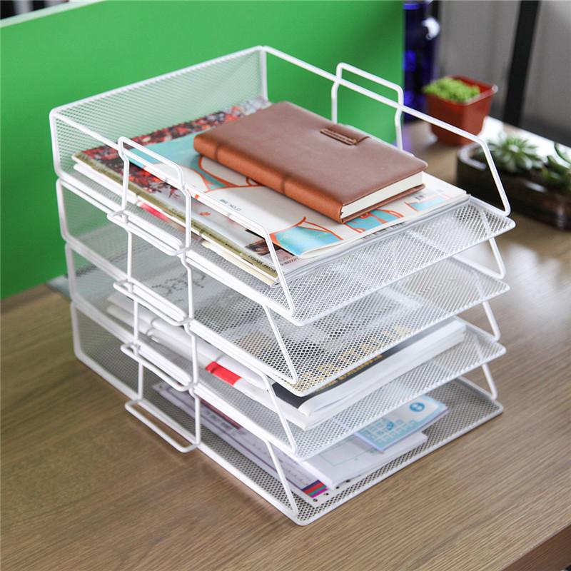 办公用品文件座文件框四层文件架文件座桌面多层资料筐办公收纳架