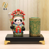 Chinese wind characteristic Peking opera Facebook character Panda creative pen holder desktop decoration decoration business send foreigner gifts