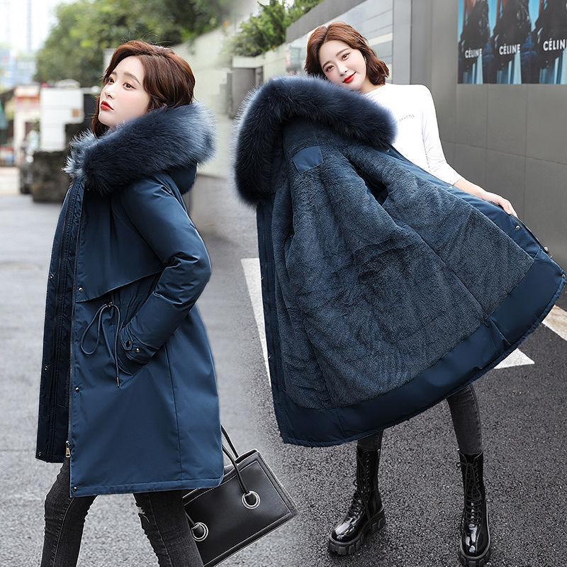 加绒加厚棉服女中长款派克服女妈妈宽松韩版外套女网红收腰厚棉衣
