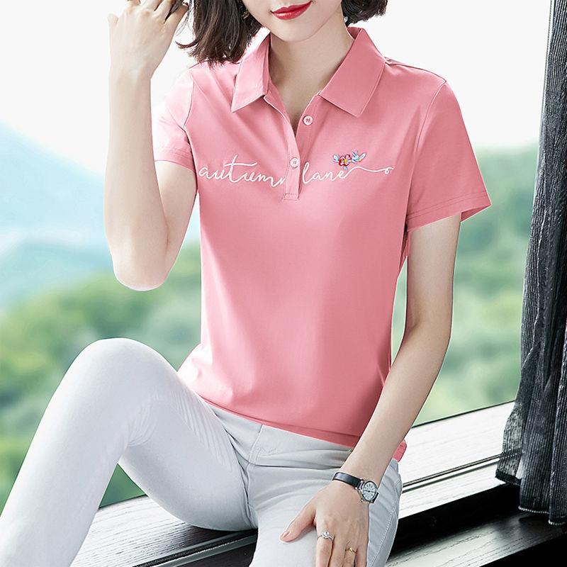 Fashion shirt cotton short sleeve T-shirt womens Lapel summer wear 2021 new mom thin top polo shirt
