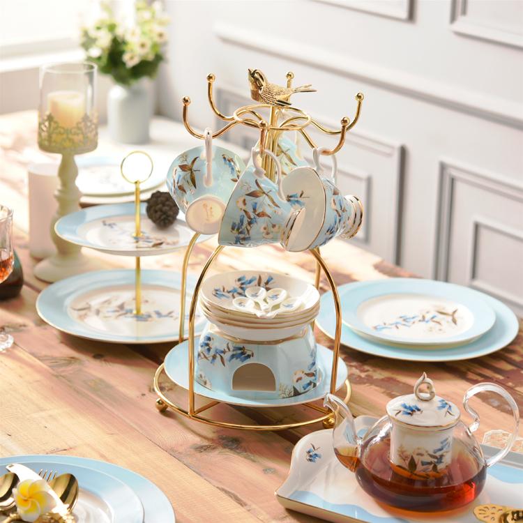 Британская домой установите днем чайный сервиз костяной фарфор кофе инструмент выйти замуж дары континентальный черный чай чашка простой лоток