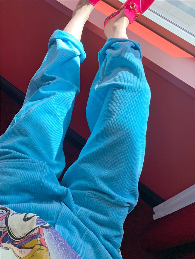 韩国东大门女装BIRAKOO波拉家春款 颜色美炸的水洗蓝色条绒休闲裤