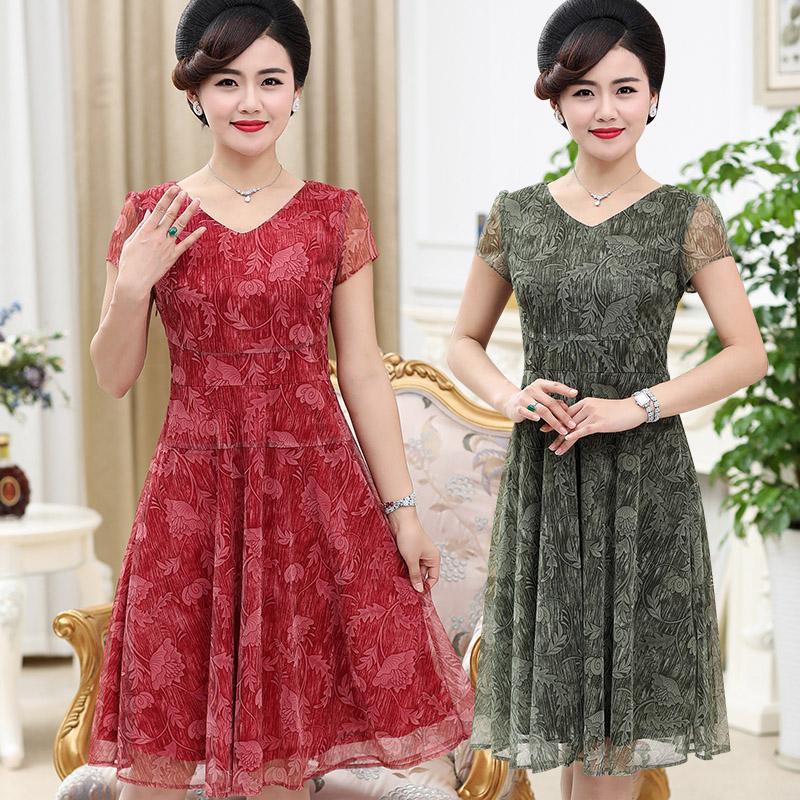 妈妈夏季雪纺连衣裙中长款中老年女装夏装短袖蕾丝裙子40-50岁潮