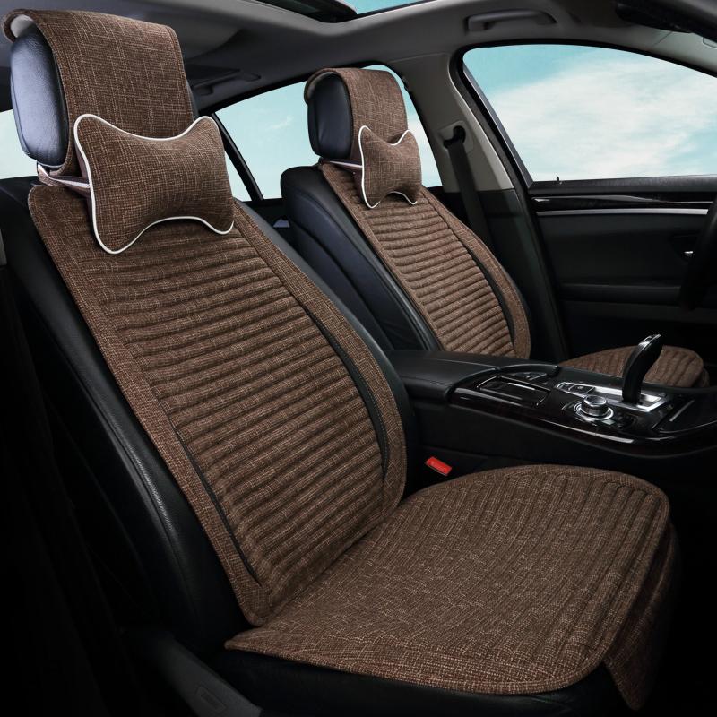 汽车坐垫夏季单座亚麻荞麦壳单个车垫布艺新款四季通用透气车