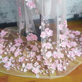 天蓝桃粉色雪纺钉珠蕾丝布料 立体3D花朵头纱婚纱礼服裙子DIY辅料
