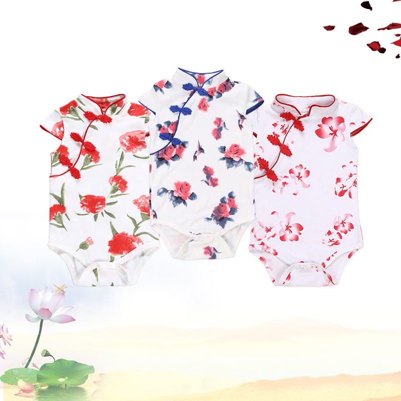 Babys fragmentary flower climbing suit babys one-piece big flower Qipao ha Yi Chinese style babys triangle one-piece bag fart clothes