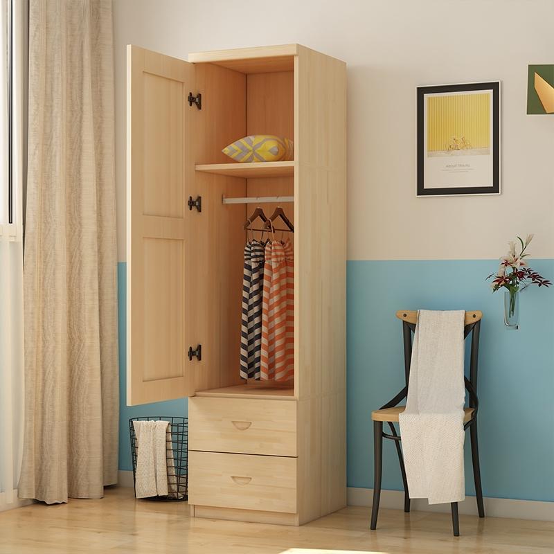 夹缝衣柜挂衣服只挂衣服的木衣柜简约实松木储物宿舍收纳衣橱定制限1000张券