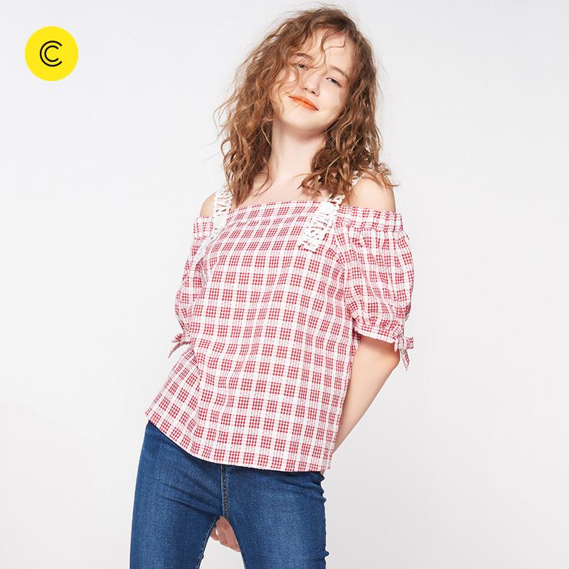 2018春夏新款 cachecache 经典格子字母吊带短袖衬衫女学院风修身