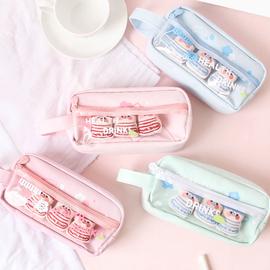 可爱笔袋大容量多功能ins风铅笔盒 男女学生帆布化妆包文具收纳袋