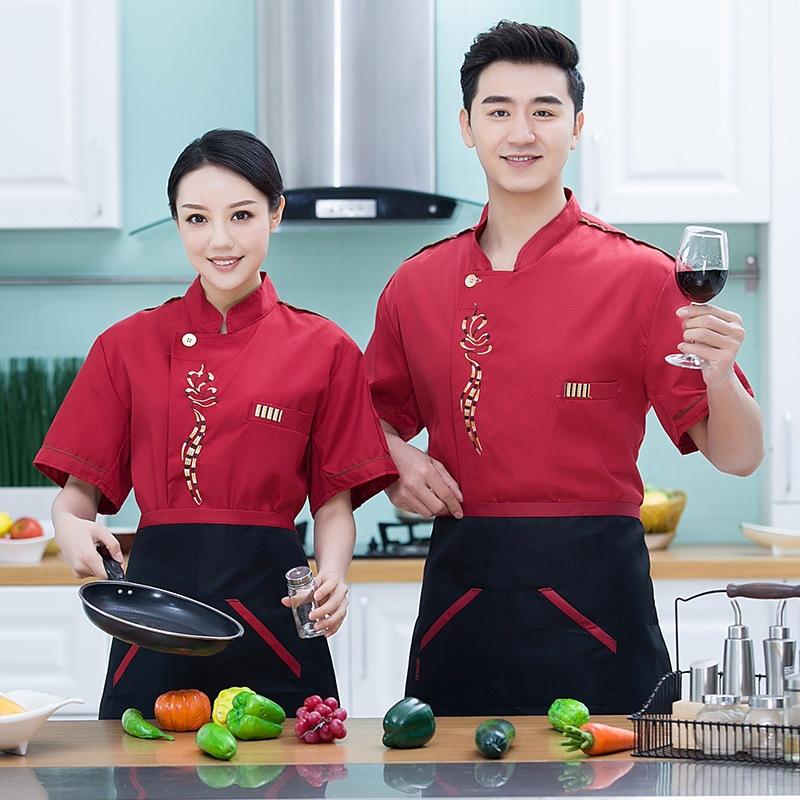 酒店餐厅厨师工作服半袖夏装订做印字餐饮面点师制服蛋糕店裱花装