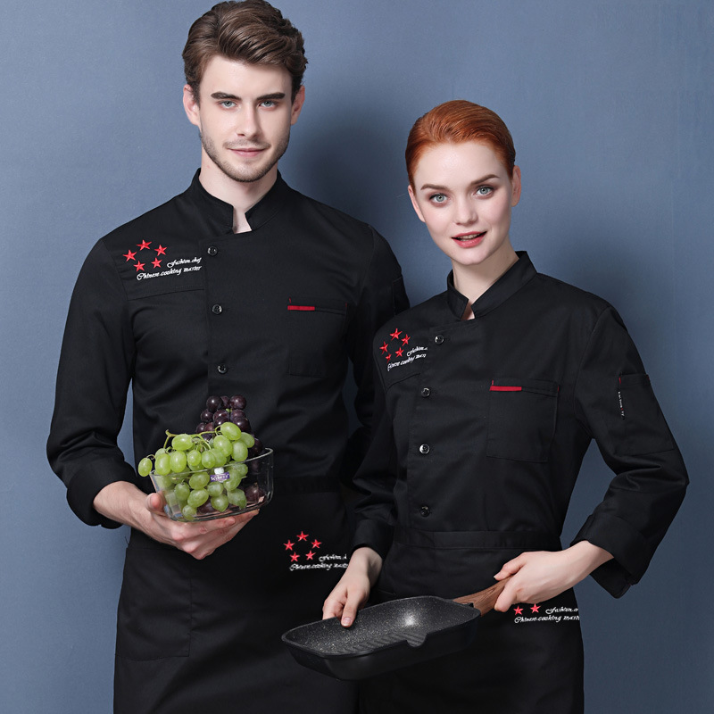 Korean barbecue masters work clothes hotel chefs clothes long sleeve custom-made lettering coffee makers uniform baking cake clothes