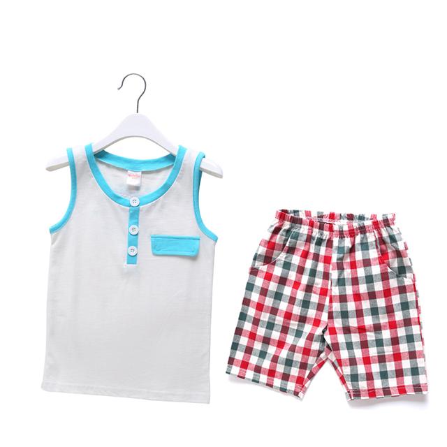 淘貝貝2016男童睡衣純棉 T恤短褲套裝 兒童睡衣空調服無袖