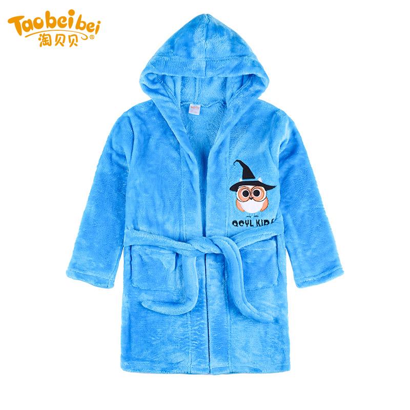 淘貝貝兒童睡袍珊瑚絨 男童女童加厚法蘭絨裕袍寶寶冬保暖家居服
