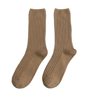 純色豎條中筒襪彩色堆堆襪女士潮襪子秋冬韓版ulzzang長襪子ins