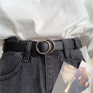 无孔皮带女韩国新款免打孔腰带复古ins风简约百搭牛仔裤带学生潮