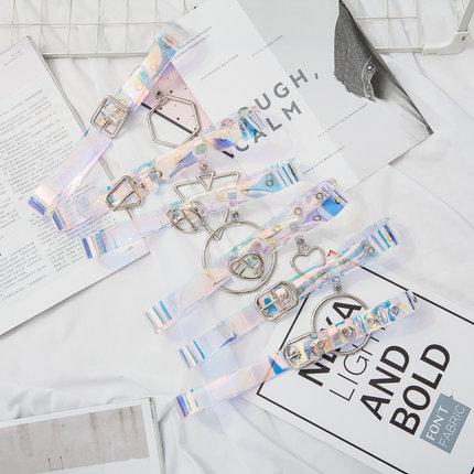 镭射塑胶彩色透明皮带女个性韩国配衣服腰带学生牛仔裤带百搭装饰