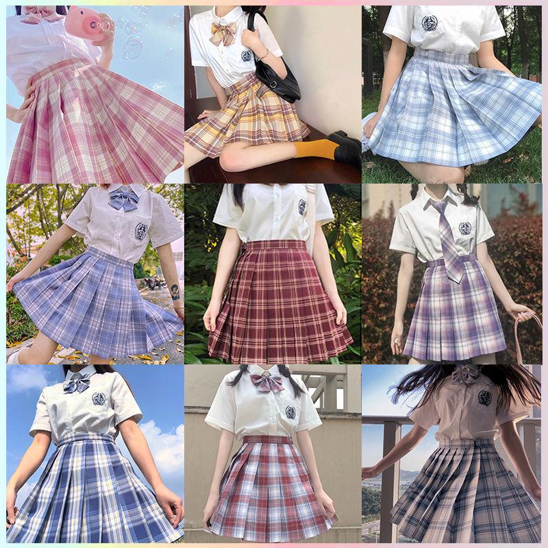 冰淇淋短袖制服裙套装jk夏季款半身裙学院风格子短裙百褶裙学生女